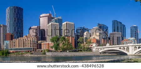Calgary's skyline on a beautiful spring day. Calgary is the corporate centre of the oil industry in Canada.