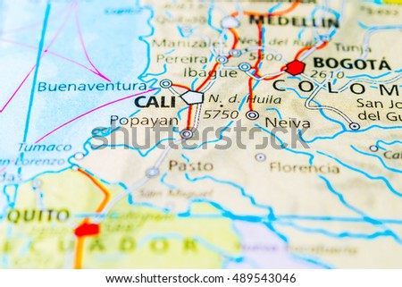 Cali colombia map view stock photo royalty free 489543046 cali colombia map view publicscrutiny Image collections