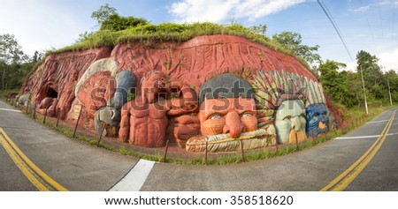 CALI, COLOMBIA, MARCH 6: Panorama of sculptures bas relief depicting the Inca and Indian indigenous lifestyle in the mountain of Cali, Colombia 2015 - stock photo