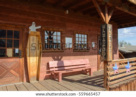 Calico, California, USA - July 1, 2015: House of the undertaker in the ghost town of Calico