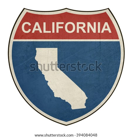 California American interstate highway road shield isolated on a white background. - stock photo