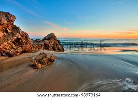 california beach in sunset - stock photo