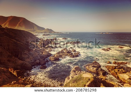 California Coast near Big Sur with an instagram filter. - stock photo