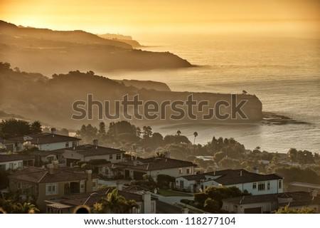 California coast south of Palos Verdes, Los Angeles at dawn - stock photo