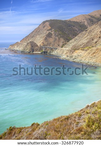 California coastline along Pacific Coast Highway, USA.