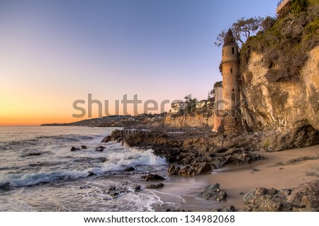 California coastline in Laguna Beach - stock photo