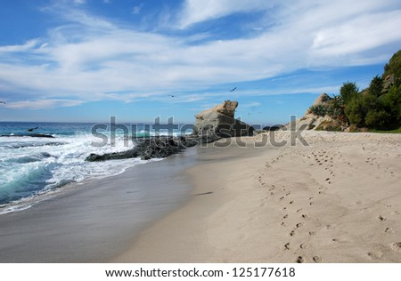 California coastline with beautiful beaches, cliffs and coves - stock photo