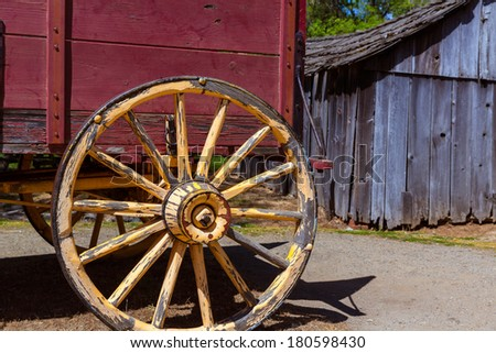 California Columbia carriage in a real old Western Gold Rush Town in USA - stock photo