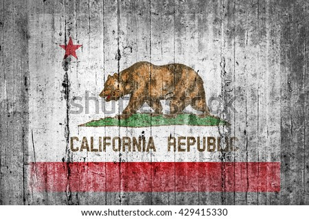 California concrete flag - stock photo