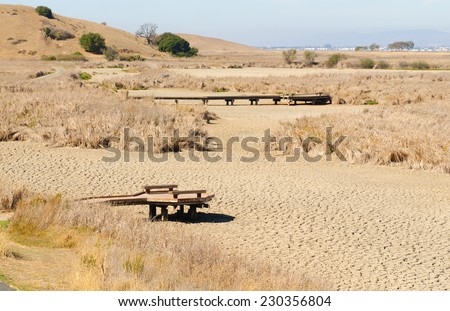 California Drought showing wetlands totally dried up - stock photo