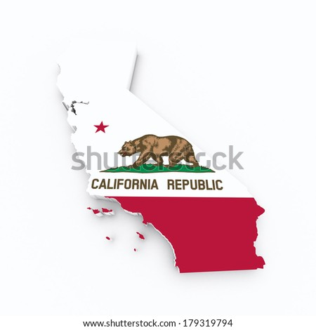 california flag on 3d map - stock photo