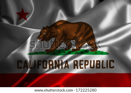 California flag on satin texture. - stock photo