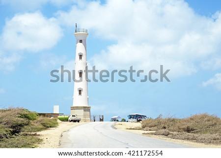 California LIghthouse on Aruba island in the Caribbean - stock photo