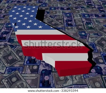 California map flag on dollars illustration - stock photo