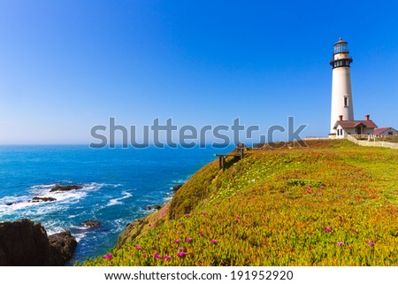 California Pigeon point Lighthouse in Cabrillo Hwy coastal highway State Route 1 - stock photo