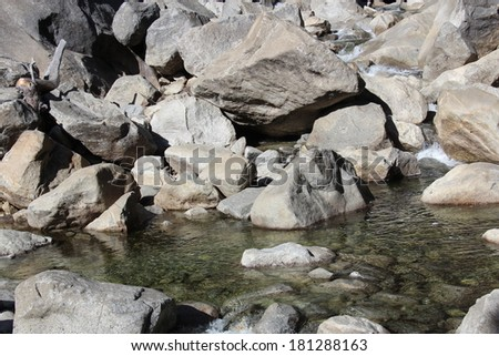 California Rocky Stream Detail in Yosemite National Park