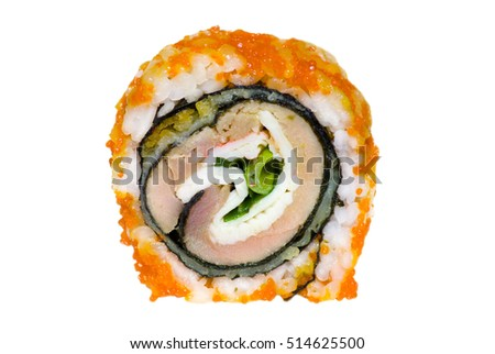 California roll with warm tuna isolated on white. Sushi roll, isolated on white. Salmon fish roll.exotic Japanese cuisine