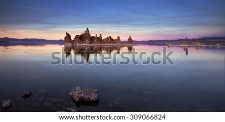 California's Mono Lake at sunset - stock photo