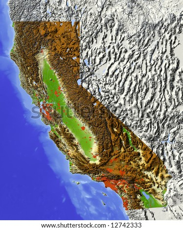 California. Shaded relief map.  Shows major urban areas and rivers, surrounding territory greyed out. Colored according to relative terrain height. Clipping path for the state area included. - stock photo