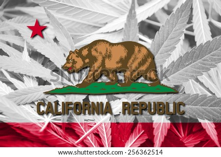California State Flag on cannabis background. Drug policy. Legalization of marijuana - stock photo