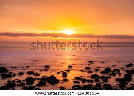 California Sunset Long Exposure - stock photo