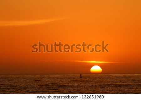 California sunset over Pacific Ocean, America, USA - stock photo