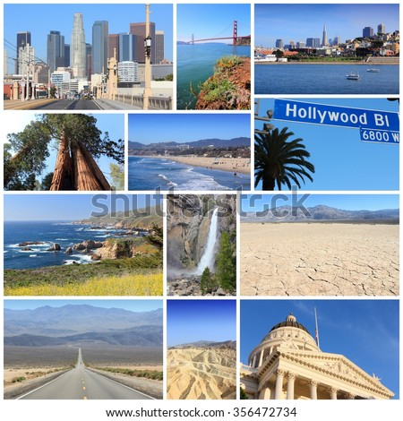 California travel collage with Los Angeles, San Francisco, Sacramento, Death Valley and Pacific Coast. - stock photo