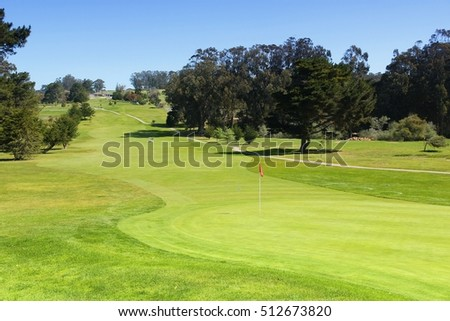California, United States - hole at a golf course. Filtered color style.