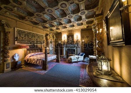 California, USA, 09 Jun 2013: Beautiful and luxurious bedroom with inctricate carvings and designs at Hearst Castle, which is a National and California Historical Landmark opened for public tours.