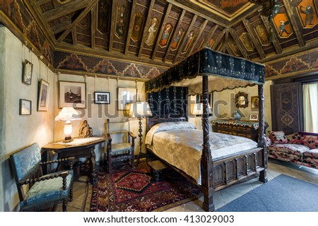California, USA, 09 Jun 2013: Beautiful and luxurious bedroom with intricate carvings and designs at Hearst Castle, which is a National and California Historical Landmark opened for public tours.