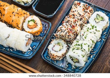 California vegetarian rools, traditional japanese cuisine - stock photo