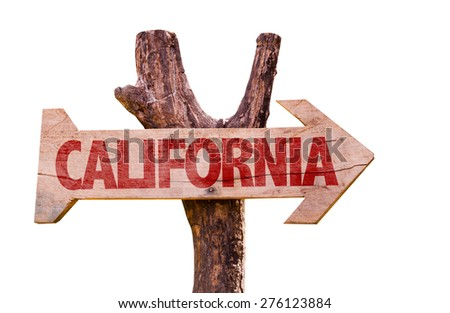 California wooden sign isolated on white background - stock photo