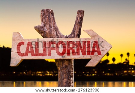 California wooden sign with sunset background - stock photo