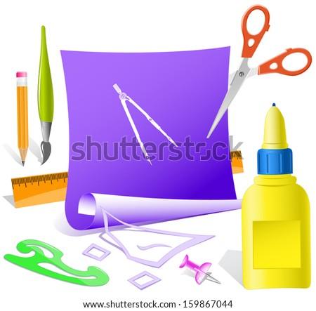 Caliper. Paper template. Raster illustration. - stock photo