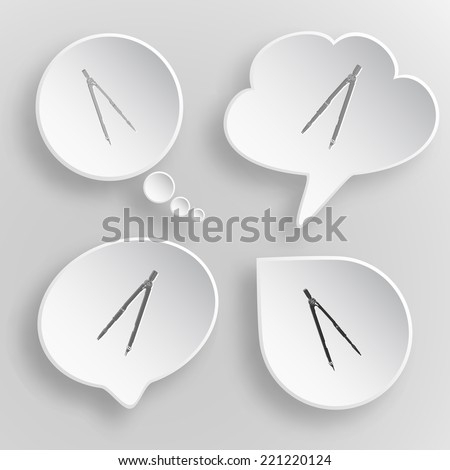 Caliper. White flat raster buttons on gray background. - stock photo