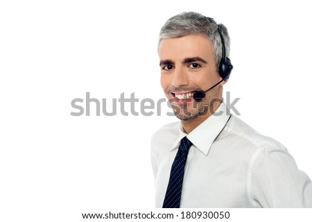 Call center consultant with headset