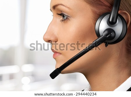 Call Center, Customer Service Representative, Telephone. - stock photo
