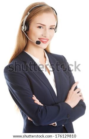 Call center girl. Isoalted on white. - stock photo
