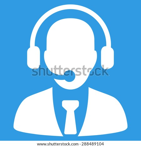Call center icon from Business Bicolor Set. Glyph style: flat symbol, white color, rounded angles, blue background.