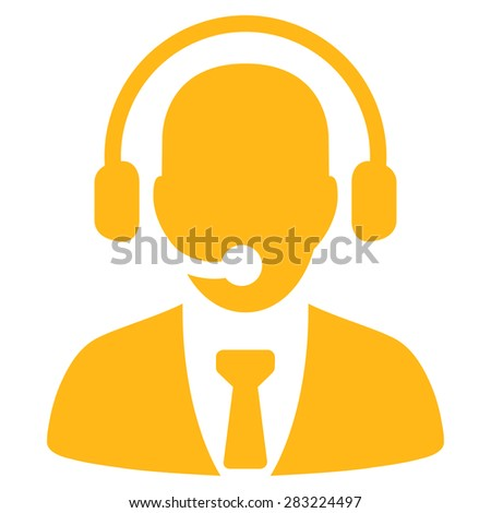 Call center icon from Business Bicolor Set. Glyph style: flat symbol, yellow color, rounded angles, white background.