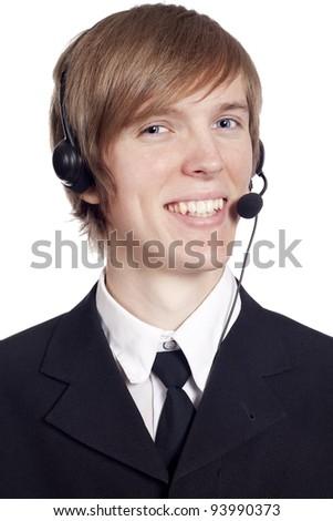 Call center male operator - stock photo