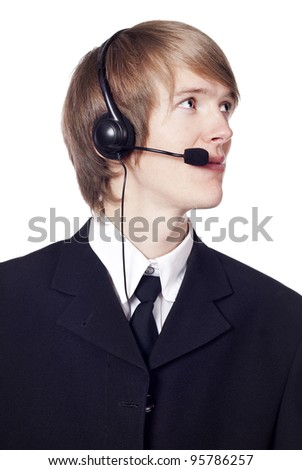 Call center male operator isolated on white - stock photo