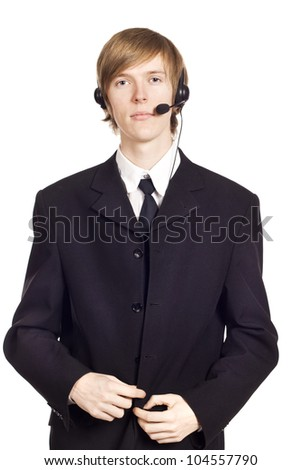Call center male operator over isolated background - stock photo