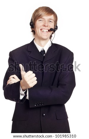 Call center male operator showing hand ok sign - stock photo