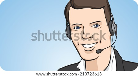 call center man with headset smiling