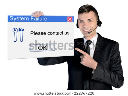Call center man with system failure message - stock photo