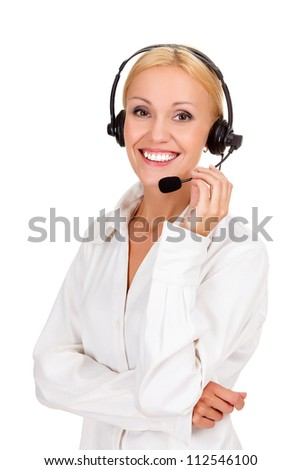 call center operator against white background. - stock photo