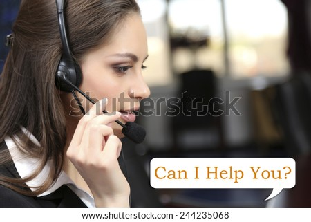 Call center operator and Can I help you? text - stock photo