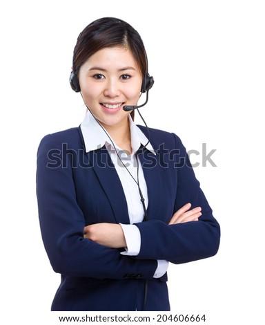 Call center operator business woman - stock photo
