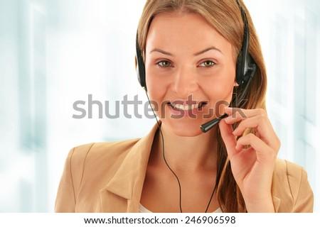 Call center operator. Customer support. Helpdesk.  - stock photo